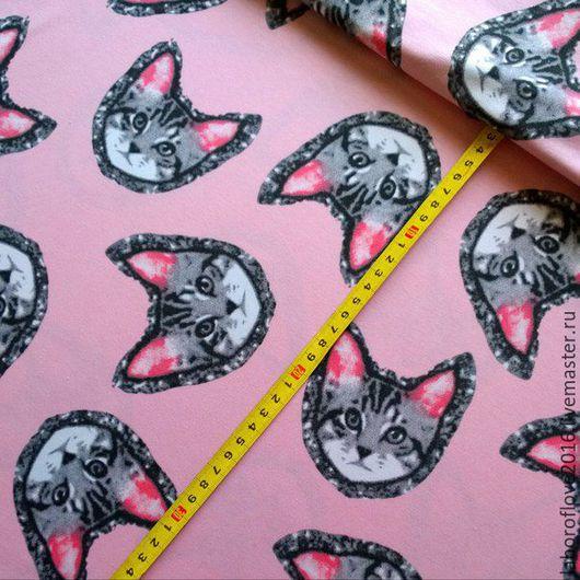 """Шитье ручной работы. Ярмарка Мастеров - ручная работа. Купить Хлопковый трикотаж с лайкрой """"Котики"""" фон нежно розовый. Handmade."""