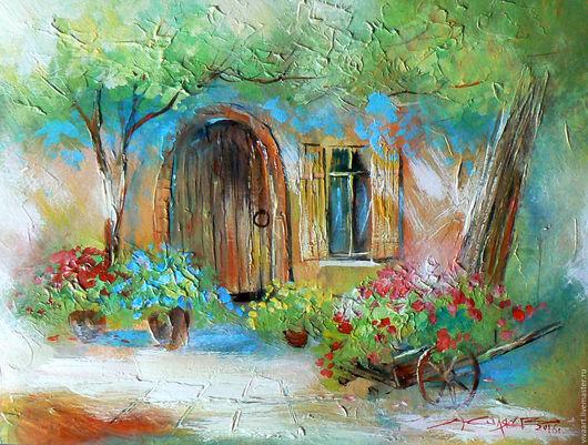 Картины цветов ручной работы. Ярмарка Мастеров - ручная работа. Купить Итальянский дворик. Handmade. Салатовый, легкая живопись