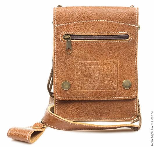 """Мужские сумки ручной работы. Ярмарка Мастеров - ручная работа. Купить Кожаная сумка для документов """"Бейдж""""-1"""" коричневая. Handmade."""