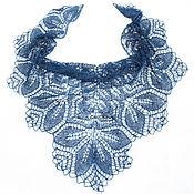 Аксессуары handmade. Livemaster - original item Dark blue shawl made of linen. Handmade.