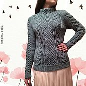 Одежда handmade. Livemaster - original item Sweater women`s blue, knitting, braids, Aran patterns, wool. Handmade.