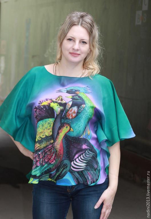 """Блузки ручной работы. Ярмарка Мастеров - ручная работа. Купить Батик Блуза """"Нежные мысли"""". Handmade. Разноцветный, батик блуза"""