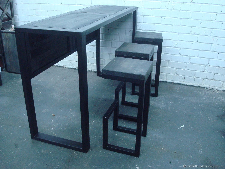 Барный стол в стиле лофт, в комплекте с тремя брутальными барными стульями. Профильная стальная труба 40х40, массив натурального дерева толщиной 40мм. Стильное и практичное решение для лофт интерьера.