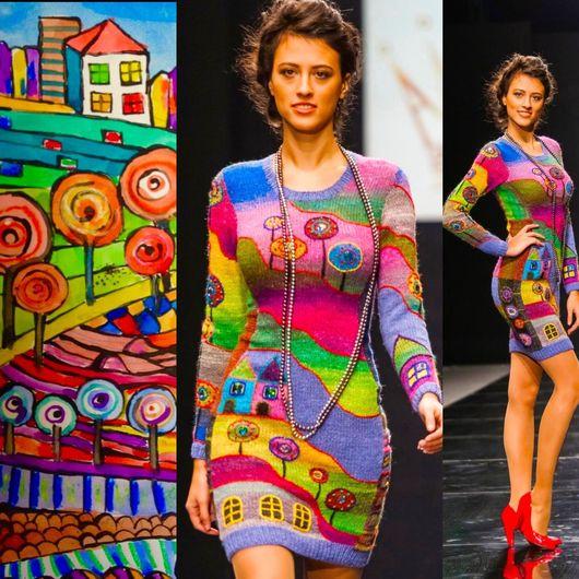 """Платья ручной работы. Ярмарка Мастеров - ручная работа. Купить Платье """"По долинам и по взгорьям"""". Handmade. Рисунок, платье вязаное"""