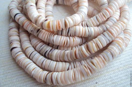 """Для украшений ручной работы. Ярмарка Мастеров - ручная работа. Купить 10см. """"Розовые губки"""" Бусины из морских ракушек.. Handmade."""