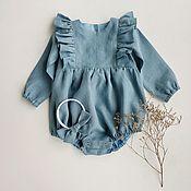 Работы для детей, handmade. Livemaster - original item Linen Romper for girls. Handmade.