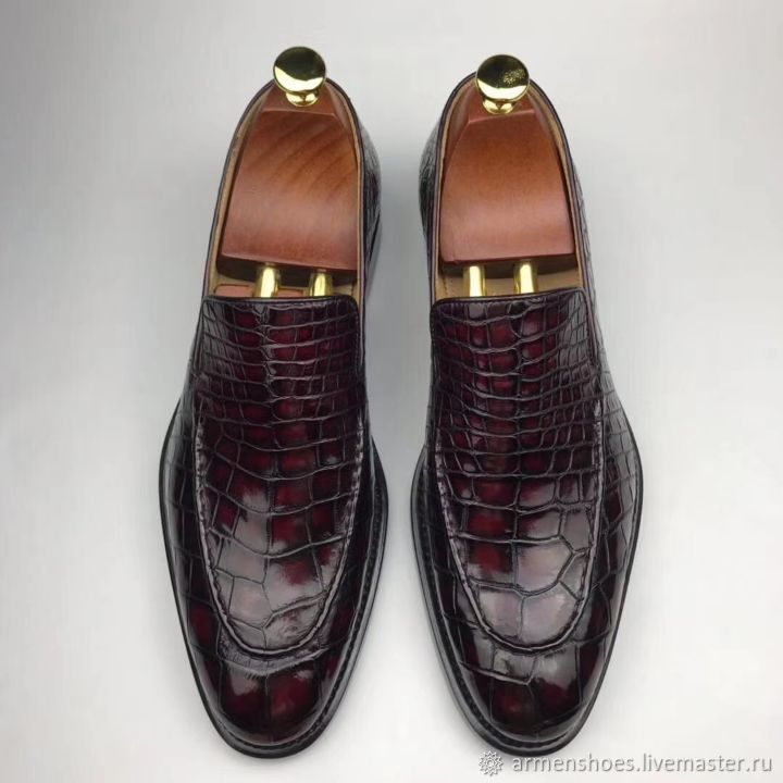 Men's loafers, made of genuine crocodile leather, in Burgundy color, Loafers, Tosno,  Фото №1