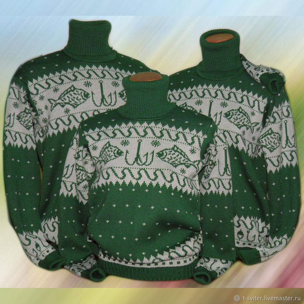 Тату-свитера для семьи рыбаков (норвежские узоры с рыбками), Свитеры, Москва,  Фото №1