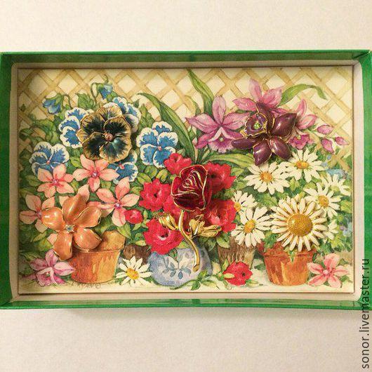 """Винтажные украшения. Ярмарка Мастеров - ручная работа. Купить Броши """"Цветы"""", сет-трансформер от Joan Rivers. Handmade. Комбинированный, цветок"""