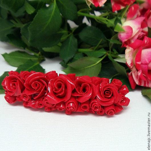 Заколки ручной работы. Ярмарка Мастеров - ручная работа. Купить Миллион алых роз - заколка автомат для волос с красными цветами. Handmade.