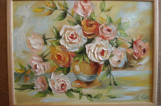 Картины цветов ручной работы. Ярмарка Мастеров - ручная работа. Купить Букетик с розами. Handmade. Картина, картина для интерьера, цветы