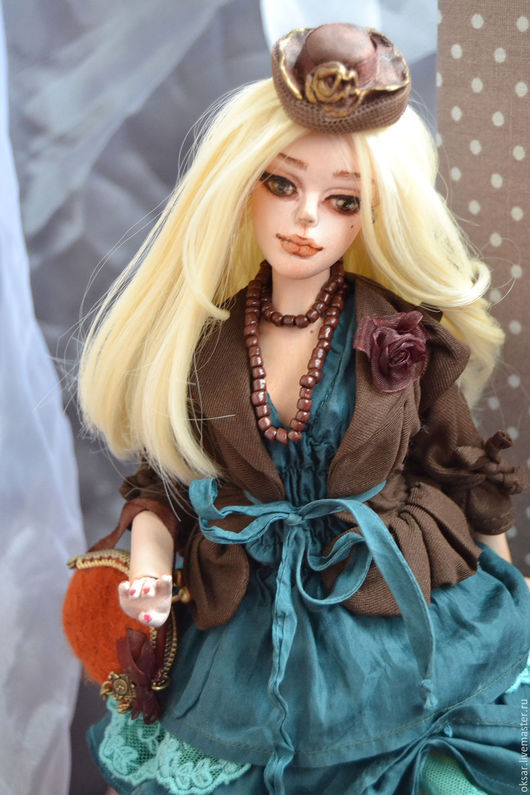 Коллекционные куклы ручной работы. Ярмарка Мастеров - ручная работа. Купить Шарнирная кукла Анелия. Handmade. Тёмно-зелёный, блондинка