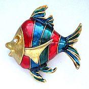 Винтажные броши ручной работы. Ярмарка Мастеров - ручная работа БРОШЬ рыба рыбка fish эмаль латунь 75. Handmade.