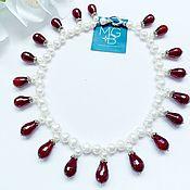 Украшения handmade. Livemaster - original item Necklace and earrings made of pearls and chalcedony. Handmade.