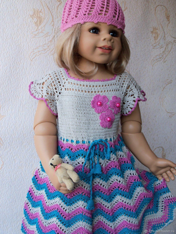 Платье для девочки вязаное морская волна