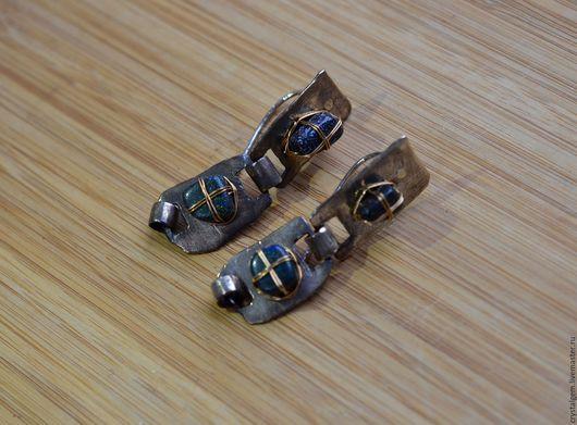 """Серьги ручной работы. Ярмарка Мастеров - ручная работа. Купить """"Brillante"""", австралийский опал, серебро, золото. Handmade. Синий"""