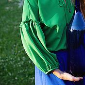 Одежда handmade. Livemaster - original item Green blouse with ruffles on the sleeves in boho style. Handmade.