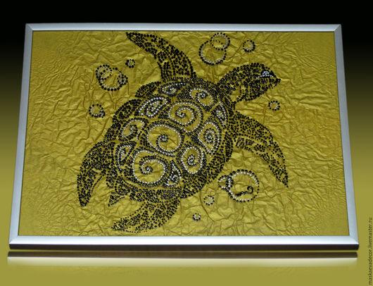 Животные ручной работы. Ярмарка Мастеров - ручная работа. Купить картина, черепаха на золотом песке техника hot-to-point. Handmade.
