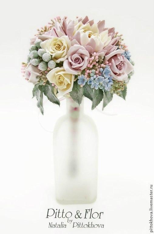 """Свадебные цветы ручной работы. Ярмарка Мастеров - ручная работа. Купить Букет цветов из полимерной глины """"Георгины и розы"""". Handmade."""