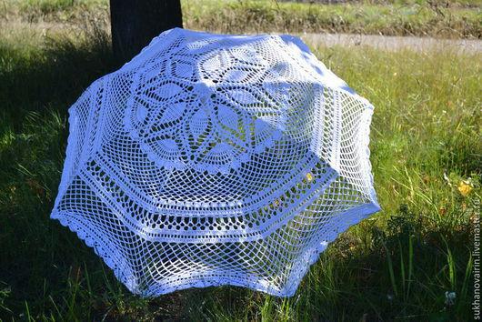 """Зонты ручной работы. Ярмарка Мастеров - ручная работа. Купить Зонт вязаный """"Лебединая верность"""". Handmade. Белый, свадьба"""