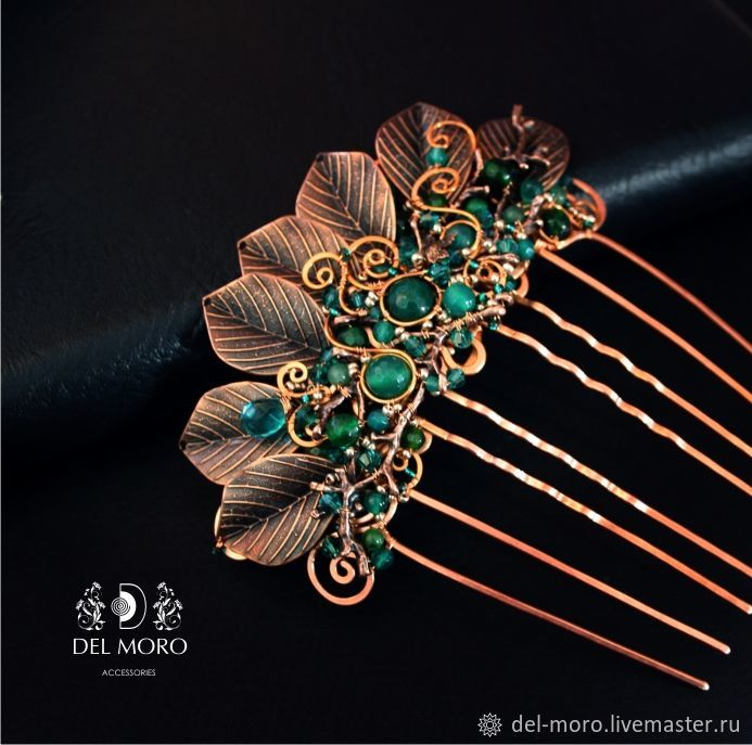 Hair comb with stones green 'Forest fairy' 2, Comb, St. Petersburg,  Фото №1