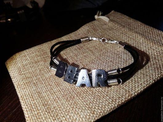 """Браслеты ручной работы. Ярмарка Мастеров - ручная работа. Купить Кожаный браслет: """"Leather Bear"""". Handmade. Bear, leather, буквы"""