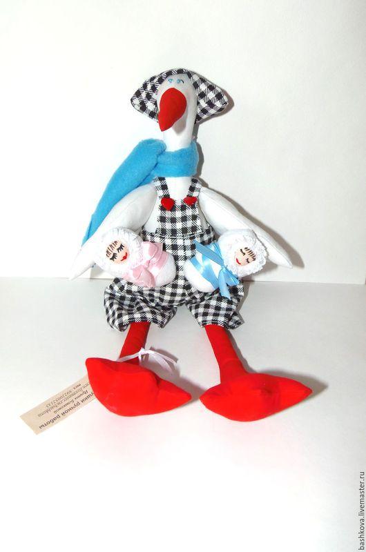 Куклы Тильды ручной работы. Ярмарка Мастеров - ручная работа. Купить Тильда аист. Handmade. Ярко-красный, подарок на годовщину
