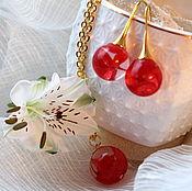 """Комплект """"Алый поцелуй"""" гортензия красный подарок девушке"""