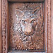 """Картины и панно ручной работы. Ярмарка Мастеров - ручная работа """"Волк"""" .Резная картина. Дерево.. Handmade."""