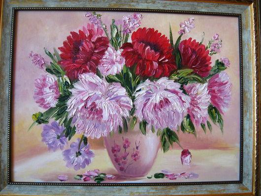 """Картины цветов ручной работы. Ярмарка Мастеров - ручная работа. Купить Картина  с  цветами  маслом     на  холсте  .""""Пионы"""". Handmade. Цветы"""