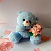 Косметика ручной работы handmade. Livemaster - original item Soap Teddy with a bouquet of flowers. Handmade.