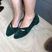 Обувь ручной работы. Ярмарка Мастеров - ручная работа Балетки туфли изумрудный замш. Handmade.