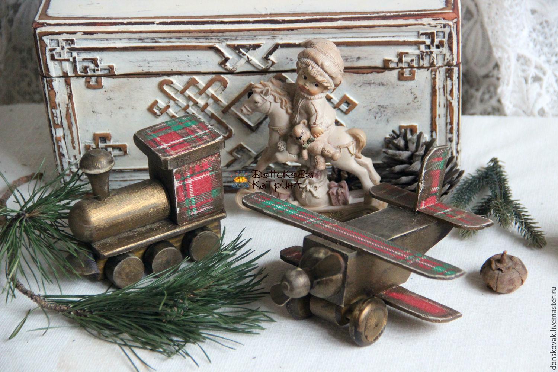 """Новый год 2019 ручной работы. Ярмарка Мастеров - ручная работа. Купить Старые деревянные игрушки """"В клеточку..."""". Handmade."""