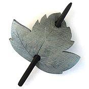 Украшения handmade. Livemaster - original item Hair clip silver Leaf (silver leaf, brooch, hair pin shawl). Handmade.