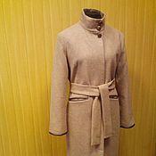 Одежда ручной работы. Ярмарка Мастеров - ручная работа Тренд сезона - Пальто с кожаными деталями - светло-бежевое. Handmade.