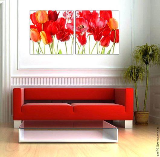 Картины цветов ручной работы. Ярмарка Мастеров - ручная работа. Купить Красные тюльпаны. Handmade. Ярко-красный, красные тюльпаны