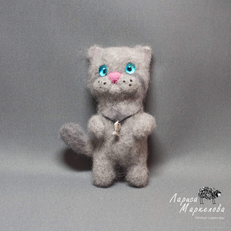Валяный  магнитик. Серый котик, Войлочная игрушка, Коломна,  Фото №1