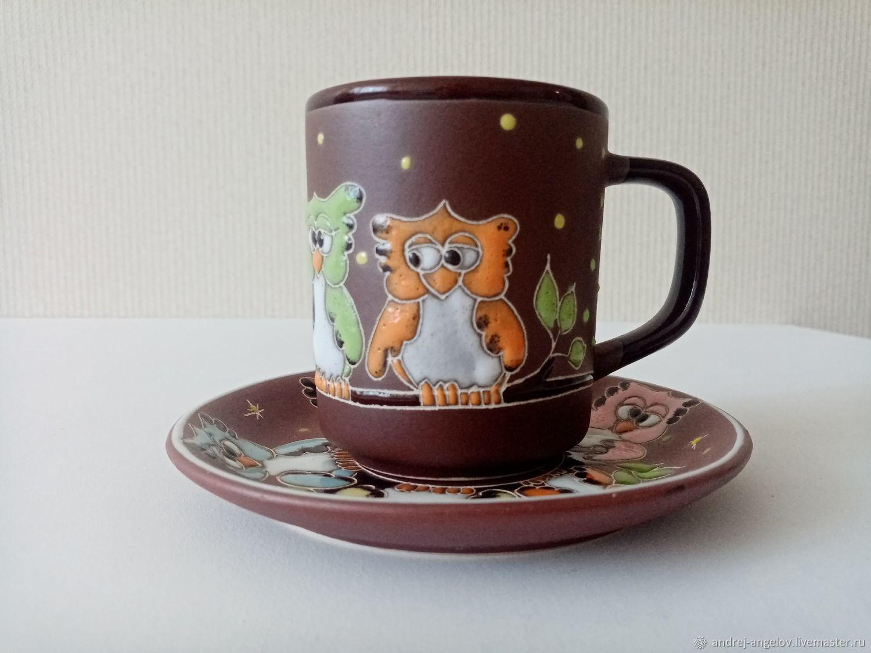 Ceramic decorative vase: Owls on branch, Single Tea Sets, Krasnodar,  Фото №1