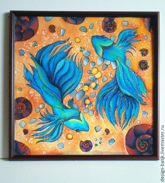 Символизм ручной работы. Ярмарка Мастеров - ручная работа. Купить Рыбки к счастью. Handmade. Оранжевый, бирюзовый, Батик, батик панно