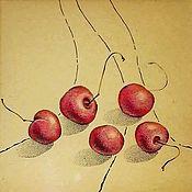 """Картины и панно ручной работы. Ярмарка Мастеров - ручная работа 20/20 Картина """"Вишенки"""", графика, зимняя вишня, винный, вишня. Handmade."""