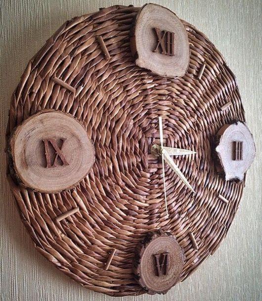 Часы для дома ручной работы. Ярмарка Мастеров - ручная работа. Купить Плетеные настенные часы. Handmade. Часы, часы настенные