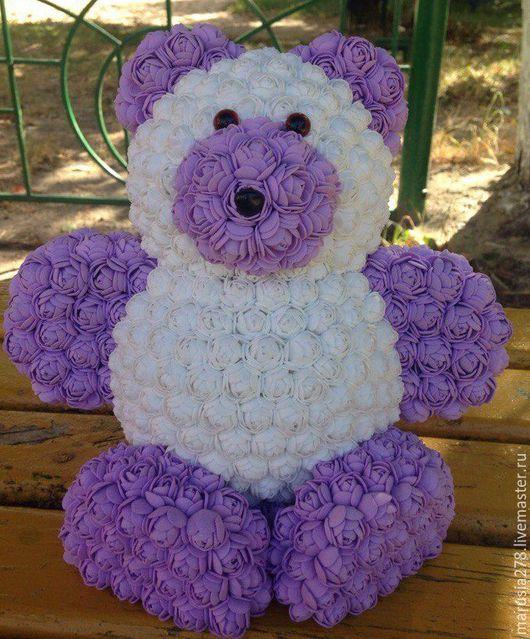 """Мишки Тедди ручной работы. Ярмарка Мастеров - ручная работа. Купить Мишка """"Розочка"""". Handmade. Белый, подарок девушке, фоамиран"""