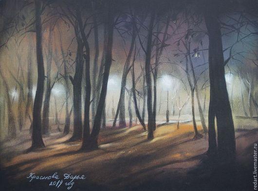 Пейзаж ручной работы. Ярмарка Мастеров - ручная работа. Купить Таинственный лес. Handmade. Черный, ночной город, ночь, город