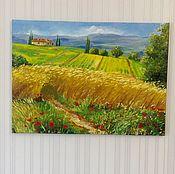Картины и панно ручной работы. Ярмарка Мастеров - ручная работа 22. Картина маслом Тоскана, поля, лето, желтый 70на50 см холст. Handmade.