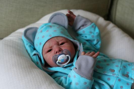 """Для новорожденных, ручной работы. Ярмарка Мастеров - ручная работа. Купить Комплект """"Мишка - летнее небо"""".. Handmade. Для новорожденного"""