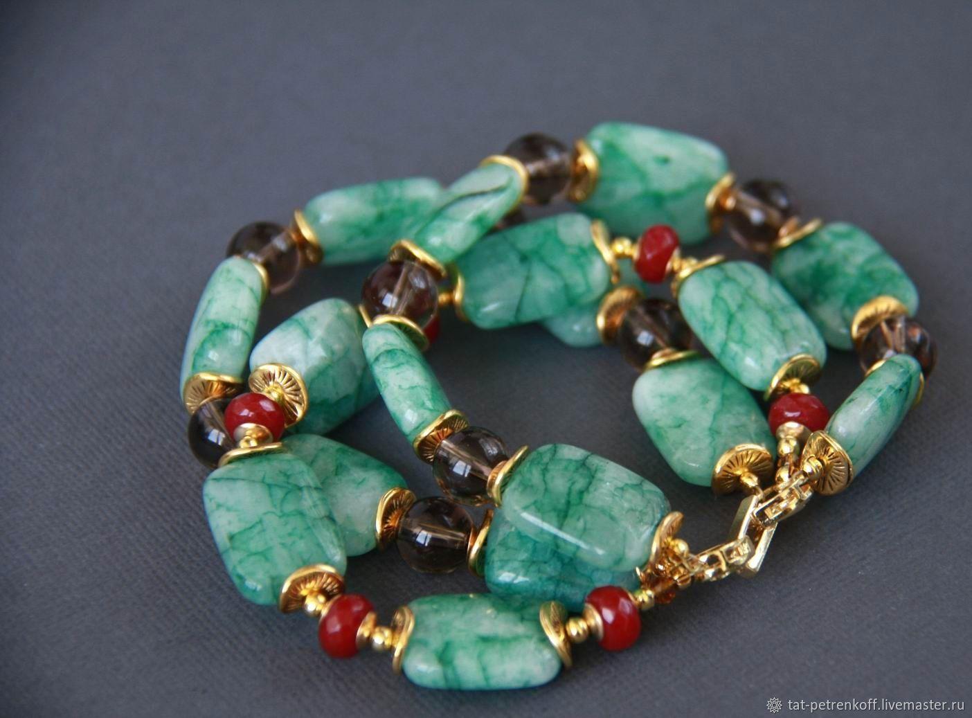 Bracelet 'Mint freshness' - agate, Topaz /smoky quartz/ chalcedony, Bead bracelet, Moscow,  Фото №1
