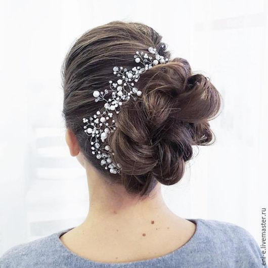 Свадебные украшения ручной работы. Ярмарка Мастеров - ручная работа. Купить Веточка для волос, белый свадебный венок. Handmade. Белый