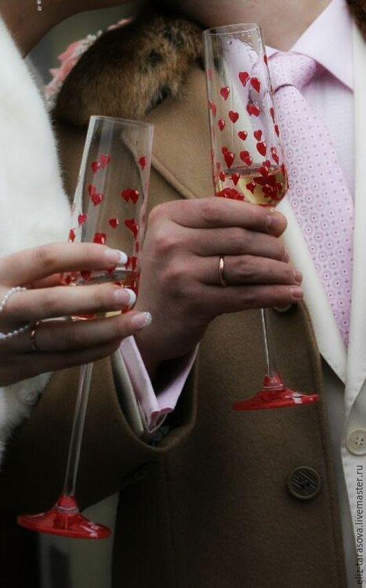 Роспись свадебных бокалов Акриловые краски по стеклу. Обжиг.
