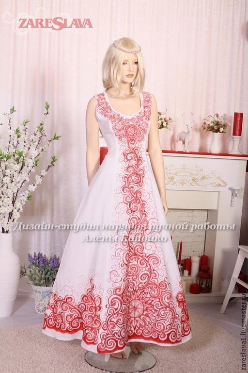 Одежда ручной работы. Ярмарка Мастеров - ручная работа. Купить Свадебное платье в русском стиле для Валентины. Handmade. Ярко-красный