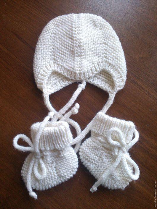 Для новорожденных, ручной работы. Ярмарка Мастеров - ручная работа. Купить Комплект для новорожденного - шапочка и носочки. Handmade. Белый